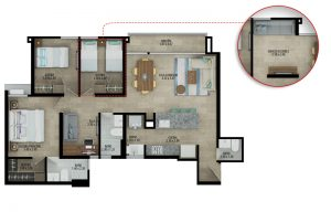 Planta apartamento tipo B últimos pisos