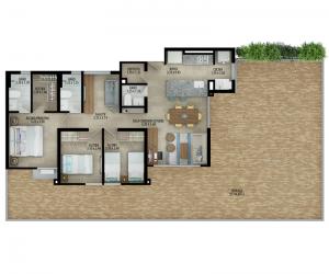 Planta apartamento tipo C Terraza 2