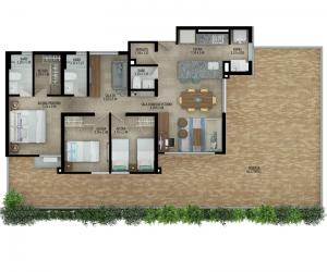 Planta apartamento tipo C Terraza 3