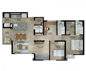 Planta apartamento tipo C Espacio flexible