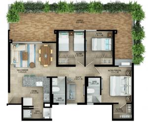 Planta apartamento tipo A Terraza 1