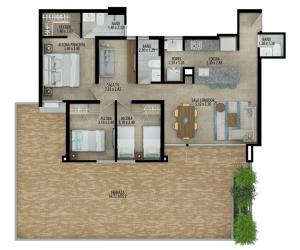 Planta apartamento tipo B Terraza 3
