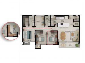 Planta apartamento tipo B1 - Área construida: 102.08m² Área privada: 93.59m²