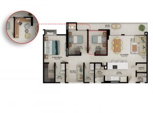 Planta apartamento tipo B2 - Área construida: 102.08m² Área privada: 93.59m² Área terraza: 3.52m²