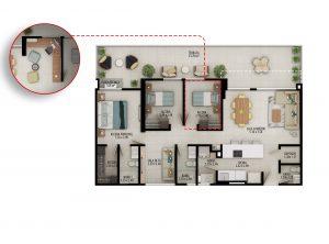 Planta apartamento tipo B4 - Área construida: 100.93m² Área privada: 92.81m² Área terraza: 26.98m²
