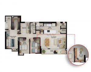 Planta apartamento tipo C piso 1