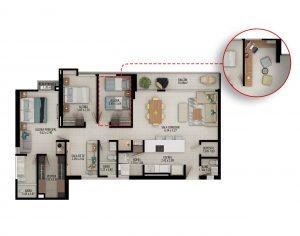 Planta apartamento tipo C2 - Área construida: 122.22m² Área privada: 110.72m² Área terraza: 1.68m²
