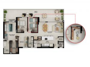 Planta apartamento tipo C3 - Área construida: 121.59m² Área privada: 110.37m² Área terraza: 26.65m²