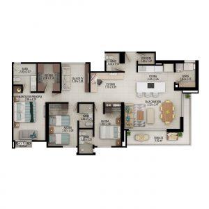 Planta apartamento tipo D1 - Área construida: 131.06m² Área privada: 117.90m²
