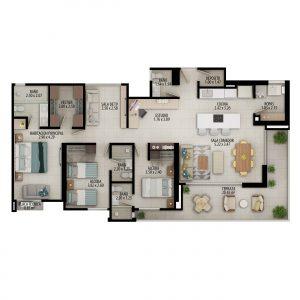 Planta apartamento tipo D2 - Área construida: 131.06m² Área privada: 117.90m² Área terraza: 10.53m² últimos pisos