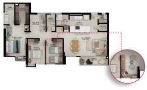 Planta apartamento tipo C - Área construida: 119.54m² Área privada: 108.04m²