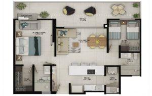 Planta apartamento tipo A1 - Área construida: 75.88m² Área privada: 68.96m² Área terraza: 15.88m²