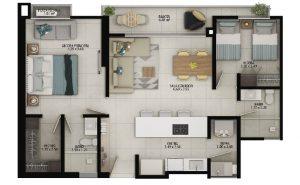 Planta apartamento tipo A - Área construida: 75.88m² Área privada: 68.96m²