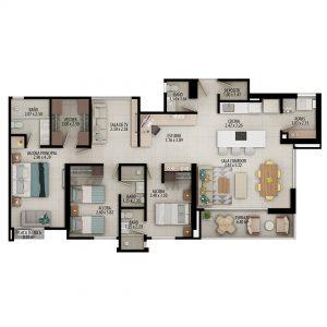 Planta apartamento tipo D - Área construida: 127.55m² Área privada: 114.35m²