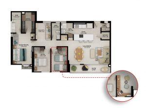 Planta apartamento tipo C4 - Área construida: 121.59m² Área privada: 110.37m²