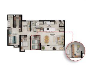 Planta apartamento tipo C1 - Área construida: 122.22m² Área privada: 110.72m²