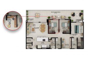 Planta apartamento tipo B5 - Área construida: 98.19m² Área privada: 90.17m² Área terraza: 29.71m²